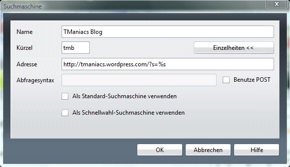 Hinzufügen der Suchfunktion für den Blog